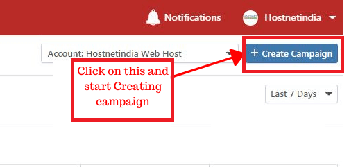 "Click on the ""create campaign"" button and start creating campaign"